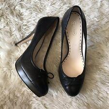 Coach Shoes 9 Black Logo Pumps Heels Platform Bow