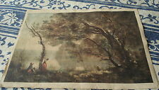Belle reproduction toile Corot paysage Montefontaine + gravure anglaise offerte.