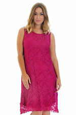 Womens Plus Size Dress Floral Lace Ladies Tunic Flapper Sleeveless Nouvelle Magenta 24-26
