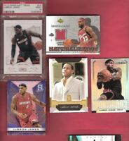LEBRON JAMES TEASURES CARD PSA MINT 9 + GAME USED JERSEY + UD ROOKIE + 2 PRIZM