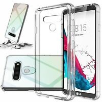For LG Stylo 6 Phone Case Shockproof Clear Hard Cover +Tempered Glass