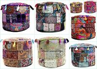 Indian Pouf Stool Patchwork Embellished Ottoman Cover 5 PC Wholesale Lot Hippie