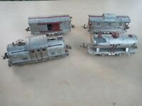 1928 Lionel  252 Locomotive 804 tank car 805 and 807 caboose.   Not running.