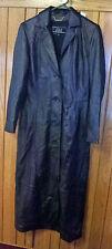 WILSONS LEATHER Women's Full Length Black Leather Coat Overcoat Size Small