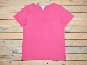 Ex Catalog Magenta Pink Embroidered Cotton Floral T-shirt Top Size 10 - 12