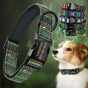 Hundehalsband mit Namen Gravur Personalisiert Katze Hund Halsband Blau Rot  SML