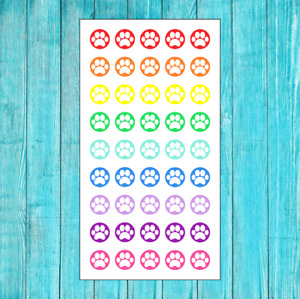45 COLORFUL PET PAW PRINT STICKERS FOR ERIN CONDREN PLANNER OR CALENDAR CAT DOG
