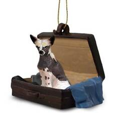 Chinese Crested Traveling Companion Dog Figurine In Suit Case Ornament