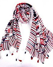 B86 Red White & Blue Aztec Tribal Print Tassel Scarf Wrap Shawl Boutique