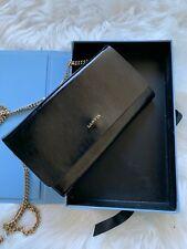 Authentic Lanvin Leather Black Chain Wallet Flap Bag in Excellent Condition