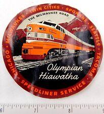 1930's Milwaukee Road Olympian Hiawatha Railroad Luggage Label Vintage E1