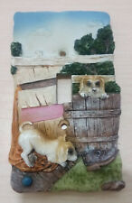 SWITCH PLATE cover 3D SINGLE TOGGLE POTTERY DOG BARREL CHAMPAGNE SKY DECO RELIEF
