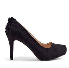 "Justfab Andie Womens UK 10 Black Faux Suede 4"" Stiletto Heel Court Shoes Pumps"