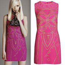 New sz 8 VERSACE H&M pink embellished studded zip up dress
