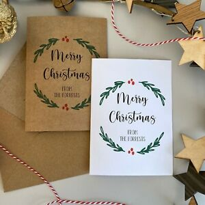 Personalised Family Christmas Cards / 10 pack / Vintage Wreath / Rustic Kraft