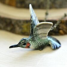 Antique Bronze Chain Ceramic Animal Hand Painted Porcelain Hummingbird Necklace