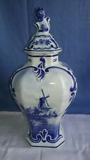 Early 19thCentury Vintage Hand Panted Windmill Delft Foo Lion Lidded Urn/Vase