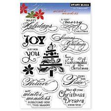 PENNY BLACK RUBBER STAMPS CLEAR WINTER WONDERS 12 TRANSPARENT CHRISTMAS SET