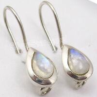 "925 Pure Silver Original RAINBOW MOONSTONE GIRLS' TEAR-DROP Earrings 1"""