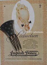 PUBLICITE AUGUSTE BONAZ SEDUCTION EPINGLES A CHEUVEUX DE 1944 FRENCH AD PUB RARE