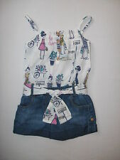 BNWT NEXT Girls Cuba Girl Playsuit With Denim Shorts And Tie Bow 3-4 Years