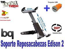 SOPORTE REPOSACABEZAS PARA Tablet BQ EDISON 2 10.1 GIRATORIA + CARGADOR USB