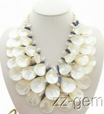 N0909123 3Strds Biwa Pearl&Shell Pearl&Lapis Necklace
