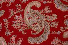 Rare Old Antique c1880 Turkey Red Cotton Paisley Fabric Yardage~Printed Textile
