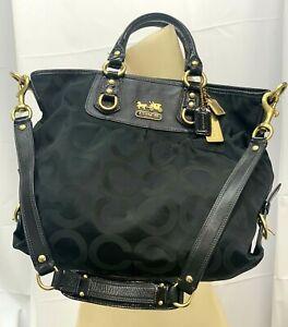 """Coach Madison Julianne Black & Gold Canvas Leather Satchel Bag 13""""L x 15""""W x 14"""""""