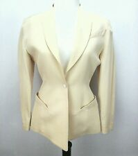 EUC THIERRY MUGLER Vintage Ivory Yellow Blazer Jacket Fitted Couture Small S