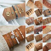 Bohemian Women Rhinestone Beaded Chain Alloy Bracelets Set Accessories Jewelry