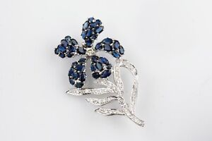 14k White Gold Sapphire and Diamond Flower Brooch TCW = 9.81 cts