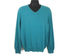 J Crew Men's Sweater Size Medium Turquoise Cotton Cashmere V Neck Casual