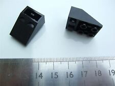 2 x Lego black slope brick Roof Tile (size 2X3) 25° Inv –374726 (Parts & Pieces)
