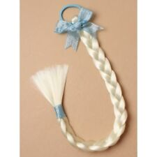 Light Blonde Imitation Plait Blue Hair Elastic & Sparkle Ribbon Bow Frozen Elsa,