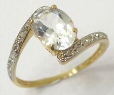 SYJEWELLERY 9CT SOLID YELLOW GOLD NATURAL OVAL AQUAMARINE & DIAMOND RING N R913