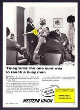 "1955 Western Union Telegram ""Sure Way to Reach Busy Man"" promo print ad"