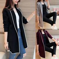 Plus Size Women Lady Long Sleeve Casual OL Cardigan Pocket Jumper Coat Jacket UK