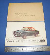 CHROMO 1950-1959 CHOCOLAT CEMOI DECOUPAGE AUTOMOBILE AUTO ALFA ROMEO GIULIETTA