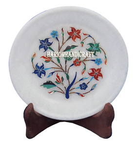 "6"" Marble Serving Tray Plate MultiLapis Inlay Floral Table Decor Marquetry H2762"