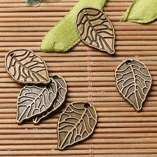 24pcs antiqued bronze colortextured leaf design charms  EF2898