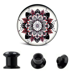 BLACK WHITE FLORAL Acrylic Ear Plugs Piercing Tunnels Mandala Gauges PL57