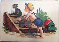 Postcard Vintage Russian postcard 1955 Soviet children's postcard Little boy