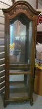 1990's Solid Oak Curio Cabinet w/5 Glass Shelves, Back Mirror+1 LED Spotlight