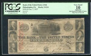 1837 $500 THE BANK OF THE UNITED STATES PHILADELPHIA, PA OBSOLETE PCGS VG-10