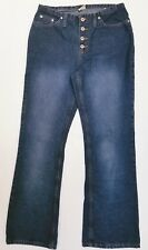 Faded Glory women's jeans blue dark wash flare button-fly 100% cotton Ladies 10