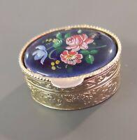 Kleine Pillendose goldfarbenes Metall & Porzellan 18,3 g Russland