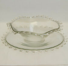 "BEAUTIFUL ESTATE CRYSTAL GLASS HEISEY LARIAT BOWL (12"") WITH LARGE PLATE (14"")"