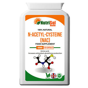 NutriSol Health NAC - N-Acetyl-Cysteine 600mg 120 Capsules for liver and lungs
