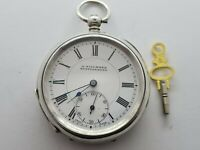 ANTIQUE  1890  GENTS SOLID SILVER KEY WOUND POCKET WATCH BY GILLMORE GLASTONBURY